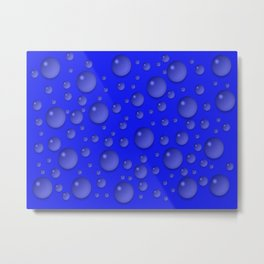Water drops - Blue Metal Print