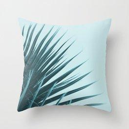 Blue Palm Leaf Throw Pillow