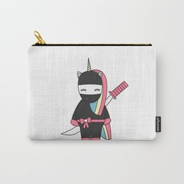 cute cartoon ninja unicorn with sword Carry-All Pouch