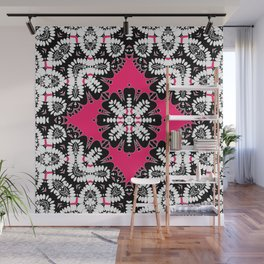 Geometric Tribal Hot Pink & Black Wall Mural