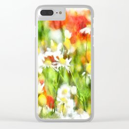 The Colors Of Spring On A Sunny Day Watercolor Clear iPhone Case