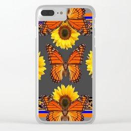 Western Grey & Orange Monarch Butterflies  sunflower Patterns Art For t Clear iPhone Case