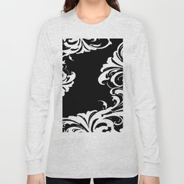 Damask Black and White Victorian Leaf Damask #1 Long Sleeve T-shirt