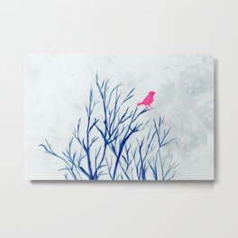 Perching bird on winter tree Metal Print