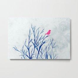 Perching bird on winter tree Metal Print