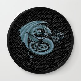 """Dragon Letter S, from """"Dracoserific"""", a font full of Dragons Wall Clock"""