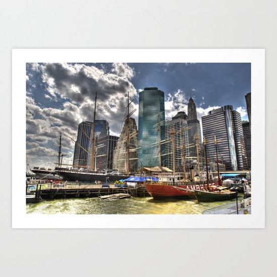 NYC Harbor, south seaport Art Print
