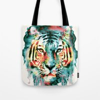 tiger Tote Bags featuring TIGER by RIZA PEKER