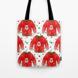 Ugly Christmas Sweater Pattern Tote Bag