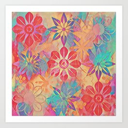 Painted Abstract Blooms Art Print