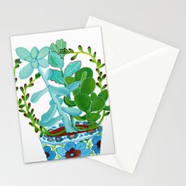 Indian Pot with Succulents Stationery Cards