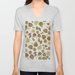 Abstract hand painted green brown watercolor fall leaves Unisex V-Neck