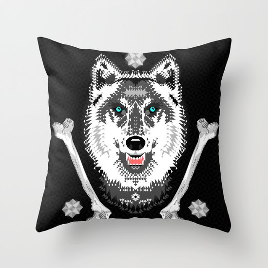Silver Wolf Geometric Throw Pillow