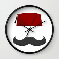 fez Wall Clocks featuring Man with a Fez by Emir Simsek