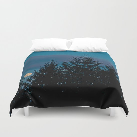Full moon in the firs Duvet Cover