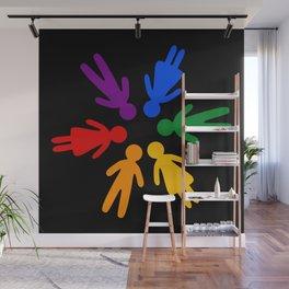 Rainbow people circle Wall Mural
