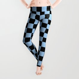 Black and Baby Blue Checkerboard Leggings