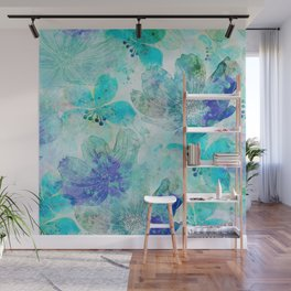 blue turquoise mixed media flower illustration Wall Mural