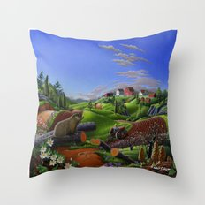 Spring On The Farm Rural Country Groundhog Landscape Throw Pillow