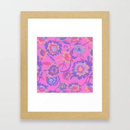 Bold Tropical Floral in Neon Pink + Purple Framed Art Print