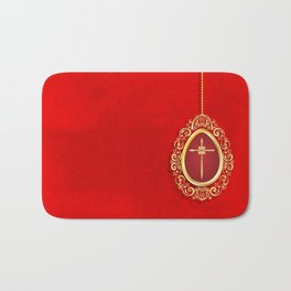 Beautiful red egg with gold cross on rich vibrant texture Bath Mat