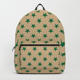 Cadmium Green on Tan Brown Stars Backpack