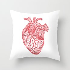 abstract red heart Throw Pillow