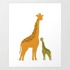 Mommy and child giraffe Art Print