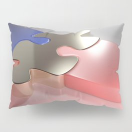 Golden puzzle joins blue and pink puzzle pieces - 3D rendering Pillow Sham