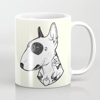 bull terrier Mugs featuring Bull Terrier dog Tattooed by PaperTigress