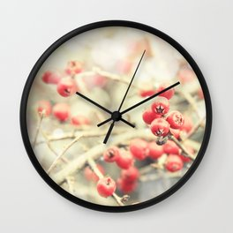 Beautiful Red Berries in the Sunshine Wall Clock