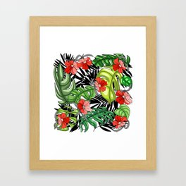 Tropical Flower Pattern - Green and Red Version Framed Art Print
