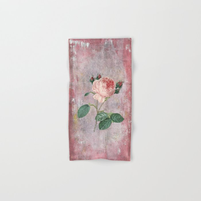 Vintage Rose - on pink grunge background  - Roses and flowers Hand & Bath Towel