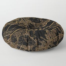 Black and gold Seoul map Floor Pillow