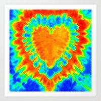 tye dye Art Prints featuring TYE DYE HEART by TMCdesigns