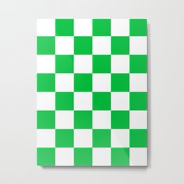 Large Checkered - White and Dark Pastel Green Metal Print