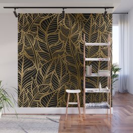 Art Deco Glamorous Cascade of Luxurious Leaves Pattern Wall Mural