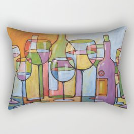 Abstract Art Wine Glasses Alcohol Bar Painting ... Time to Relax Rectangular Pillow