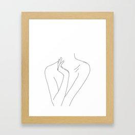 Nude figure line drawing illustration - Dari Framed Art Print