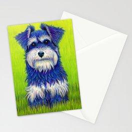 Colorful Miniature Schnauzer Dog Pet Portrait Stationery Cards