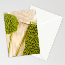 Moss green knitting and ball of wool Stationery Cards