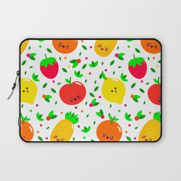 Cute & Whimsical Fruit Pattern with Kawaii Faces Laptop Sleeve