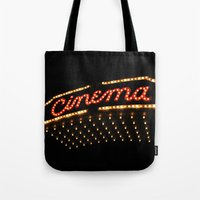 cinema Tote Bags featuring Cinema by Kathleen Casey