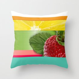 Bright Multicolor Stripes & Fruit Lemon Strawberry Throw Pillow