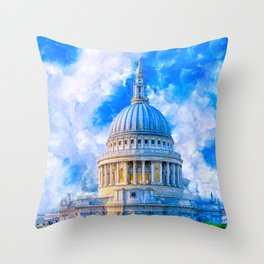 London - The Dome Of St Paul's Cathedral Throw Pillow