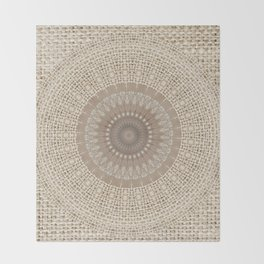 Unique Texture Taupe Burlap Mandala Design Throw Blanket