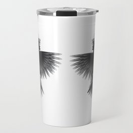 Strange Hummingbird 1.Black on white background. Travel Mug