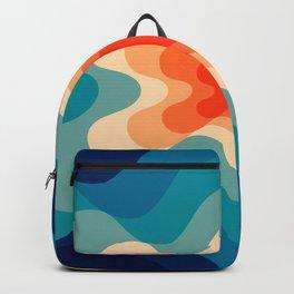 Retro 80s Blue and Orange Mid-Century Minimalist Abstract Art Backpack