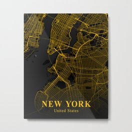 New York City Map | Gold City Street Map | United States Cities Maps Metal Print