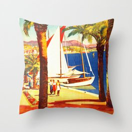 Vintage Bandol France Travel Poster Throw Pillow
